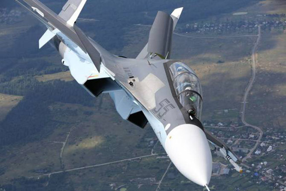 An Su-30SM multifunction fighter aircraft.
