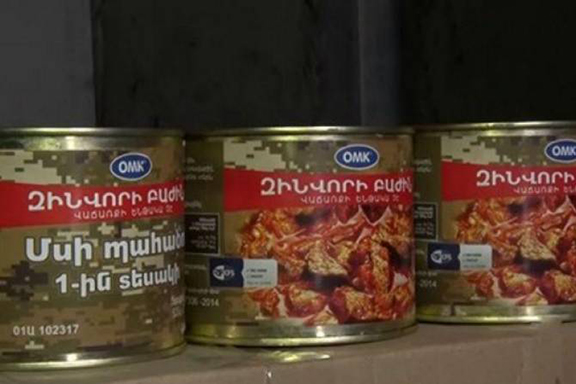 More canned foods earmarked for soldiers were seized on Wednesday from Gen. Manvel Grigoryan's Artsakh home