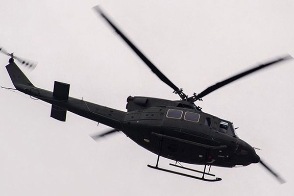 A U.S.-made Bell 412 helicopter, the type that Azerbaijan is going to showcase at a military parade on June 26.