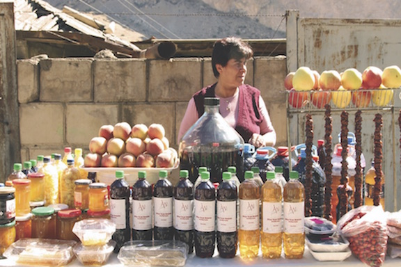 A roadside vendor in Armenia selling traditional Armenian dried fruits and other foods.