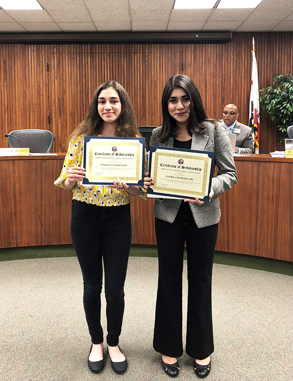 "The recipients of the  ANCA Glendale ""Tsolag Hovsepian"" Upstander Scholarship"