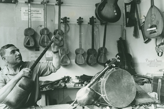 Sarkis Arakelyan, a master folk instrument craftsman, in his workshop c. 1930s. (Source: Smithsonian)
