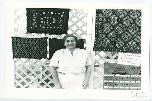 Anahid Dakessian Kazazian displaying her traditional Marash needlework at the 1988 Smithsonian Folklife Festival. (Source: Smithsonian)