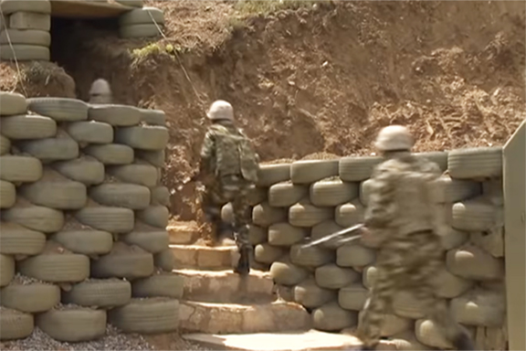 Azerbaijani soldiers are shown at the border with Artsakh in a video for disseminated by the Azerbaijani Defense Ministry