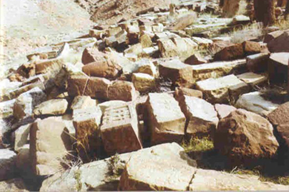 The demolished Armenian cross stones in Djulfa