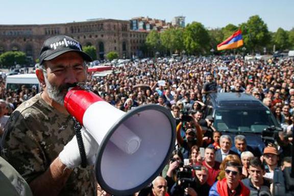 Nikol Pashinyan addresses protesters during Armenia's Velvet Revolution this spring