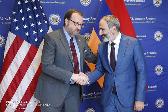 U.S. Ambassador to Armenia Richard Mills with Prime Minister of Armenia Nikol Pashinyan.