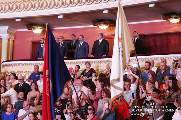 The crowds cheered President Armen Sarkissian and Prime Minister Nikol Pashinyan