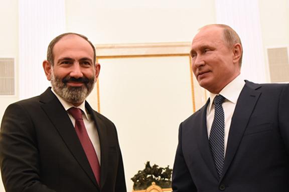 Prime Minister Nikol Pashinyan with Russian President Vladimir Putin in the Kremlin last month