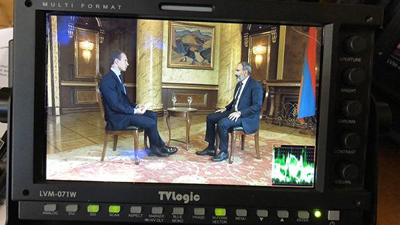 Prime Minister Nikol Pashinyan being interviewed by Al Jazeera's Robin Forestier-Walker