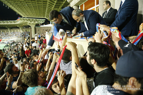Prime Minister Nikol Pashinyan at the Legends Match in Yerevan.