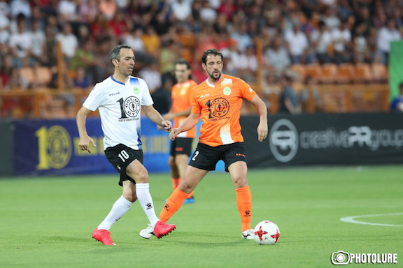 French footballer Youri Djorkaeff (of Armenian descent) playing in Yerevan.