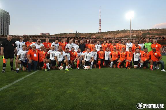 The football legends at the  Vazgen Sargsyan Republican Stadium in Yerevan.