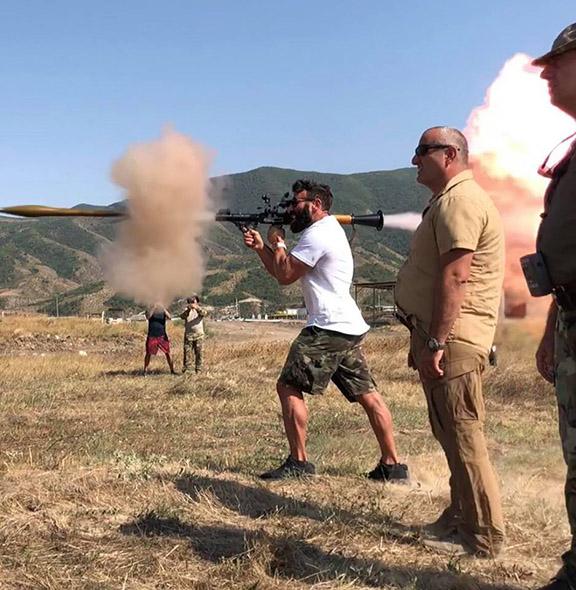 Dan Bilzerian firing an RPG during his visit to Artsakh this week