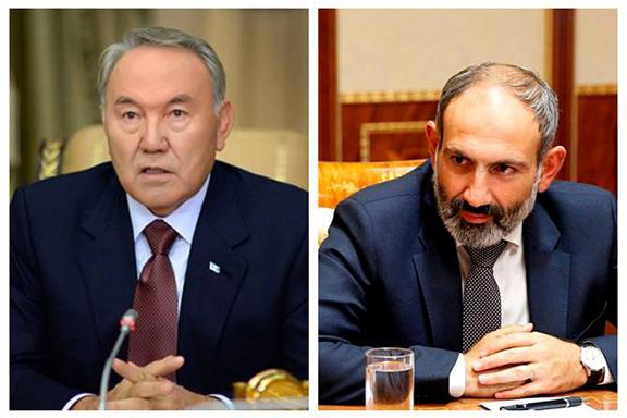 Kazakhstan President Nursultan Nazarbayev (left) and Armenian Prime Minister Nikol Pashinyan