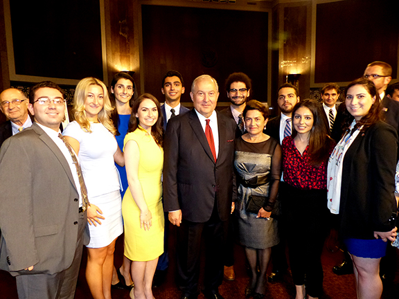 The ANCA Leo Sarkissian interns with Armenia President Sarkissian and First Lady Nouneh Sarkissian.