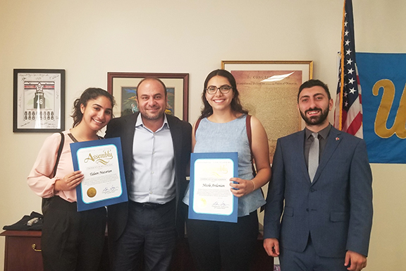 The ANCA-WR 2018  summer interns with CA State Assemblymember Adrin Nazarian