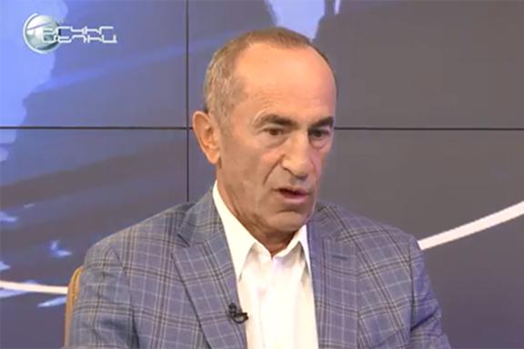 Former president Robert Kocharian during an interview last month with Yerkir Media