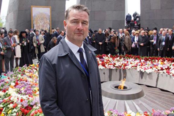 Member of German parliament Albert Weiler at Dzidzernagapert during the centennial of the Armenian Genocide
