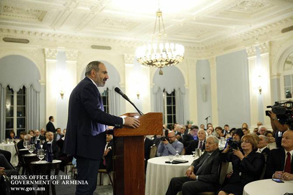 Prime Minister Nikol Pashinyan addresses a group of Armenian Americans at the Yale Club in New York on Sept. 23