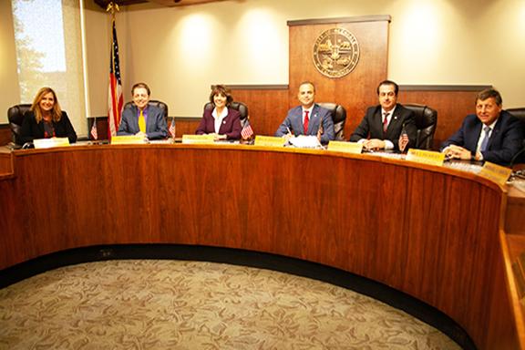 Glendale City Manager Yasmin K. Beers, Councilmember Vrej Agajanian, Councilmember Paula Devine, Mayor Zareh Sinanyan, Councilmember Vartan Gharpetian, Councilmember Ara Najarian