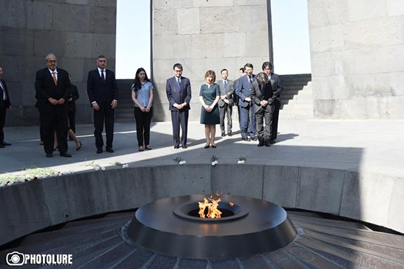 Japan's Foreign Minister Taro Kono visits Dzidzernagapert