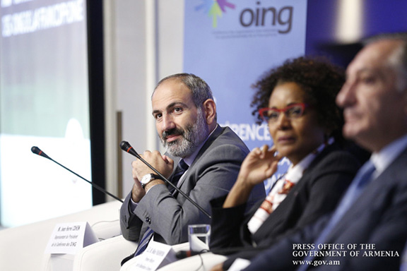Prime Minister Nikol Pashinyan and Secretary General of the International Organization of La Francophonie Michaëlle Jean in Yerevan on Sept. 12