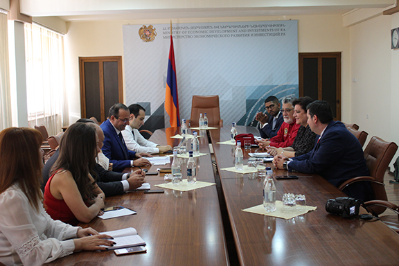 In addition to Minister of Economic Development and Investments, Deputy Ministers Mane Adamian and Avag Avanesyan as well as the Head of the Department of International Cooperation Armen Ayvazyan participated in the meeting.
