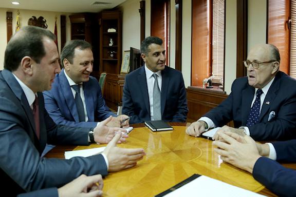 Rudy Giuliani meets with Armenia's Acting Defense Minister Davit Tonoyan in Yerevan on Oct. 22, 2018