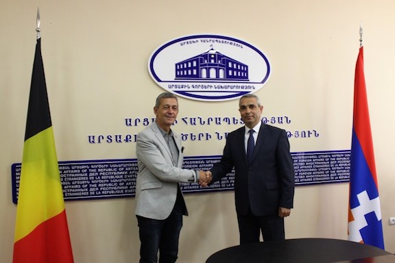 Artsakh Foreign Minister Masis Mayilyan (right) with the head of the Belgian legislative delegation  Jean Jacques Flahaux