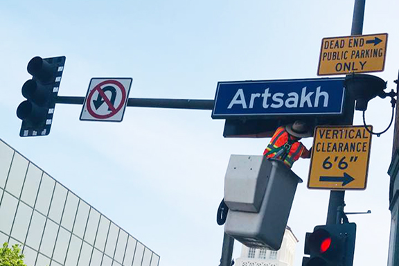 Signs for Artsakh Avenue were installed last week in anticipation of Tuesday's official unveiling at 9 a.m.