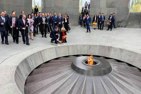 French President Emanuel Macron and First Lady, Brigitte at Dzidzernagapert Memorial Monument on Oct. 11, 2018