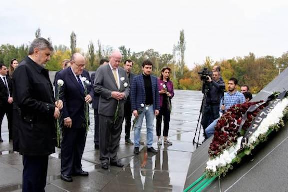 President Donald Trump's personal lawyer Rudy Giuliani visits Dzidzernagapert Memorial Complex on Oct. 22, 2018
