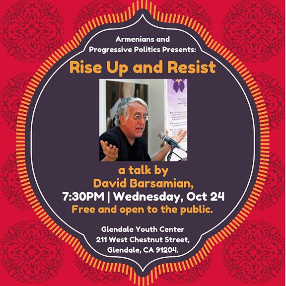 "David Barsamian to Speak in Glendale as part of the ARF's ""Armenians and Progressive Politics"" endeavor"
