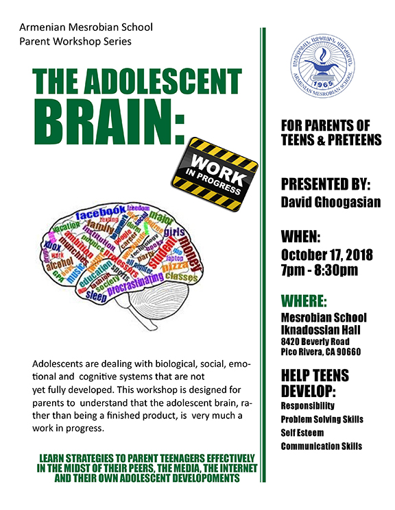"""A lecture on the """"Adolescent brain"""" to take place at Armenian Mesrobian School"""