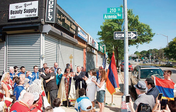 """Members of the New York Armenian community gathered for the inauguration of """"Armenia Way"""" in Queens"""