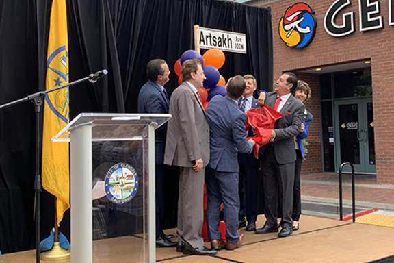 Glendale City Council members unveil the Artsakh Avenue sign on October 2