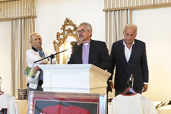 Prelate Archbishop Moushegh Mardirossian males remarks at Gerald and Mark Golf Classic