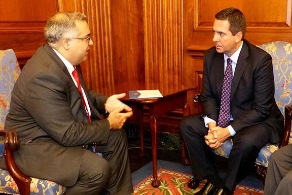 House Intelligence Committee Chairman Devin Nunes confers with ANCA Executive Director Aram Hamparian regarding U.S. reliance on Turkey's Incirlik Airbase