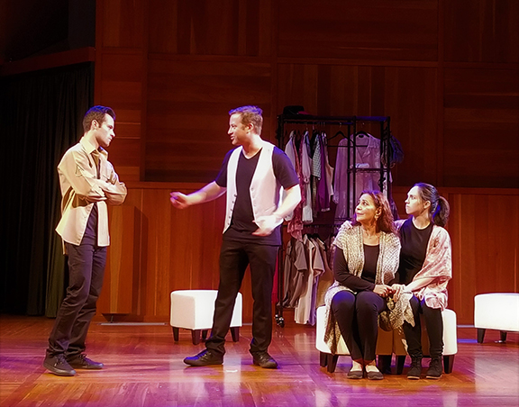"""Will Maizel, Robert Walters, Jade Hykush, and Baily Sorrel in a scene from """"The Armenian Play (or Opera)"""""""