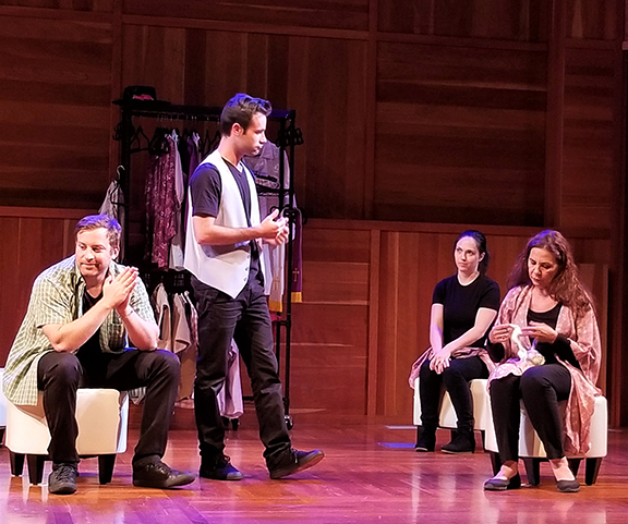 """Robert Walters, Will Maizel, Bailey Sorrel, and Jade Hykush in """"William Saroyan: The Unpublished Plays in Performance."""" (Photo by Armineh Hovanesian)"""