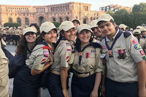 Scouts from Homenetmen Western United States Region after marching in Yerevan