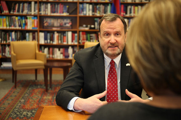 Outgoing U.S. Ambassador to Armenia speaks to EVN Report's Maria Titizian (Photo from EVN Report)