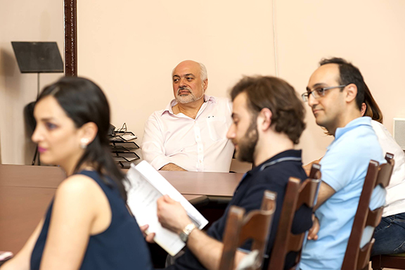 Constantine Orbelian sits in one of the master classes he has introduced