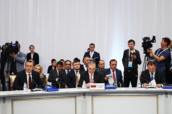 Armenia's Acting Foreign Minister Zohrab Mnatsakanyan speaks at the CSTO Summit in Astana, Kazakhstan on Nov. 8, 2018
