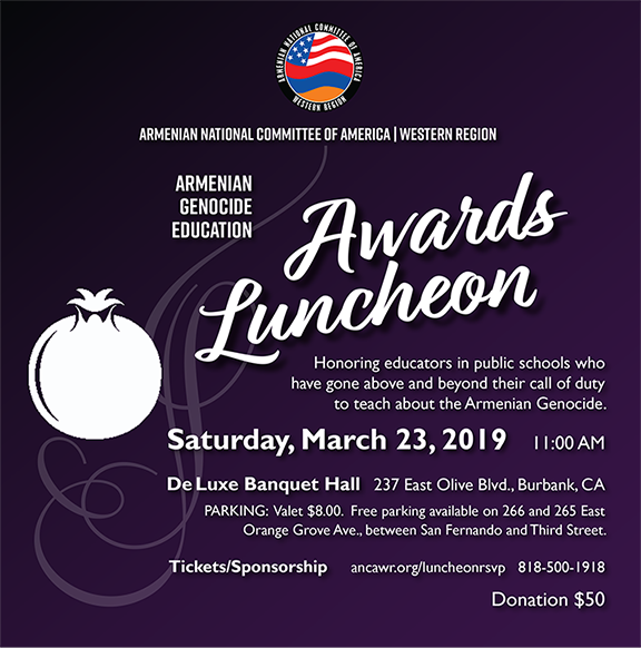 ANCA-WR's Armenian Genocide Education Awards Luncheon Set for March