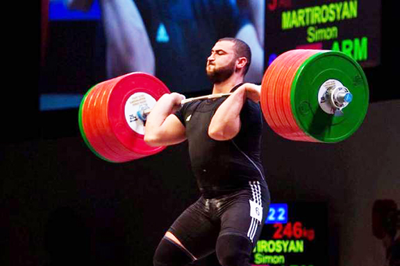 Simon Martirosyan during competition in Turkmenistan, where he was crowned world champion on Friday