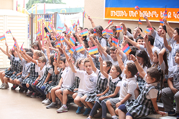 Students at Ari Guiragos Minassian School in Orange County where the author is the pastor at Forty Martyrs Armenian Church