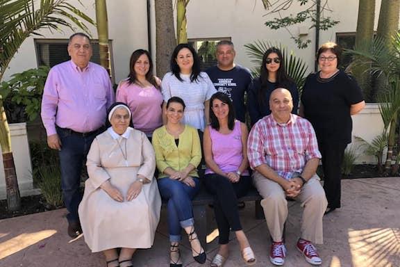 Front Row (from l to r): Sister Lucia from Armenian Sisters Academy (Montrose), Mrs. Maral Boyadjian from Sahag-Mesrob Armenian Christian School (Altadena), Mrs. Grace Andonian from Krouzian-Zekarian-Vasbouragan Armenian School (San Francisco), Mr. Shahé Mankerian from St. Gregory Hovsepian School (Pasadena). Back Row (from l to r): Mr. John Kossakian form Cabayan Elementary School (North Hills), Mrs. Arpi Avanesian from AGBU Manoogian-Demirdjian School (Canoga Park), Mrs. Sossi Shanlian from Ferrahian High School (Encino), Mr. Curtis Shamlin from Charlie Keyan Armenian Community School (Clovis), Ms. Sanan Shirinian from Ari Guiragos Minassian Armenian School (Santa Ana), Mrs. Lina Arslanian from Merdinian School (Sherman Oaks).