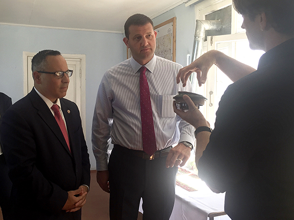 ANCA Chairman Raffi Hamparian and Congressman David Valadao in Stepanakert in 2017 discussed de-mining efforts with Ash Boddy of the HALO Trust.